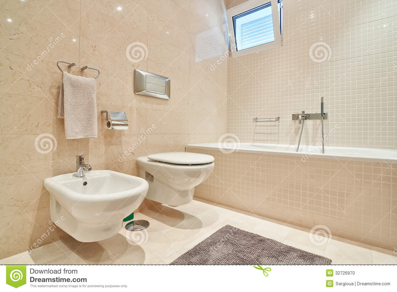 Modern Toilet With Ceramic Tiles And Bathroom Stock Photo