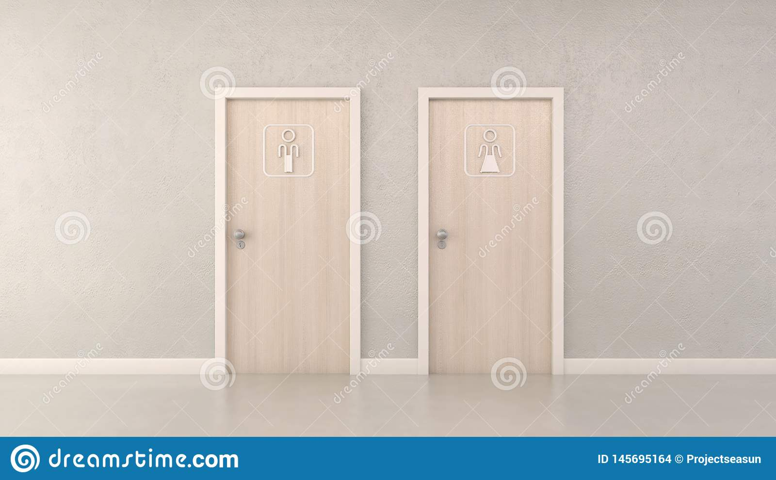 Modern toilet doors and pictogram