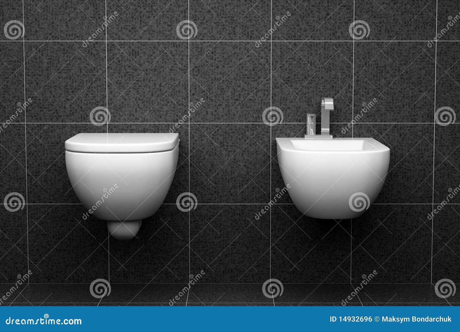 Modern Toilet Met Zwarte Tegels Op Muur Royalty vrije Stock Afbeelding   Afbeelding  14932696