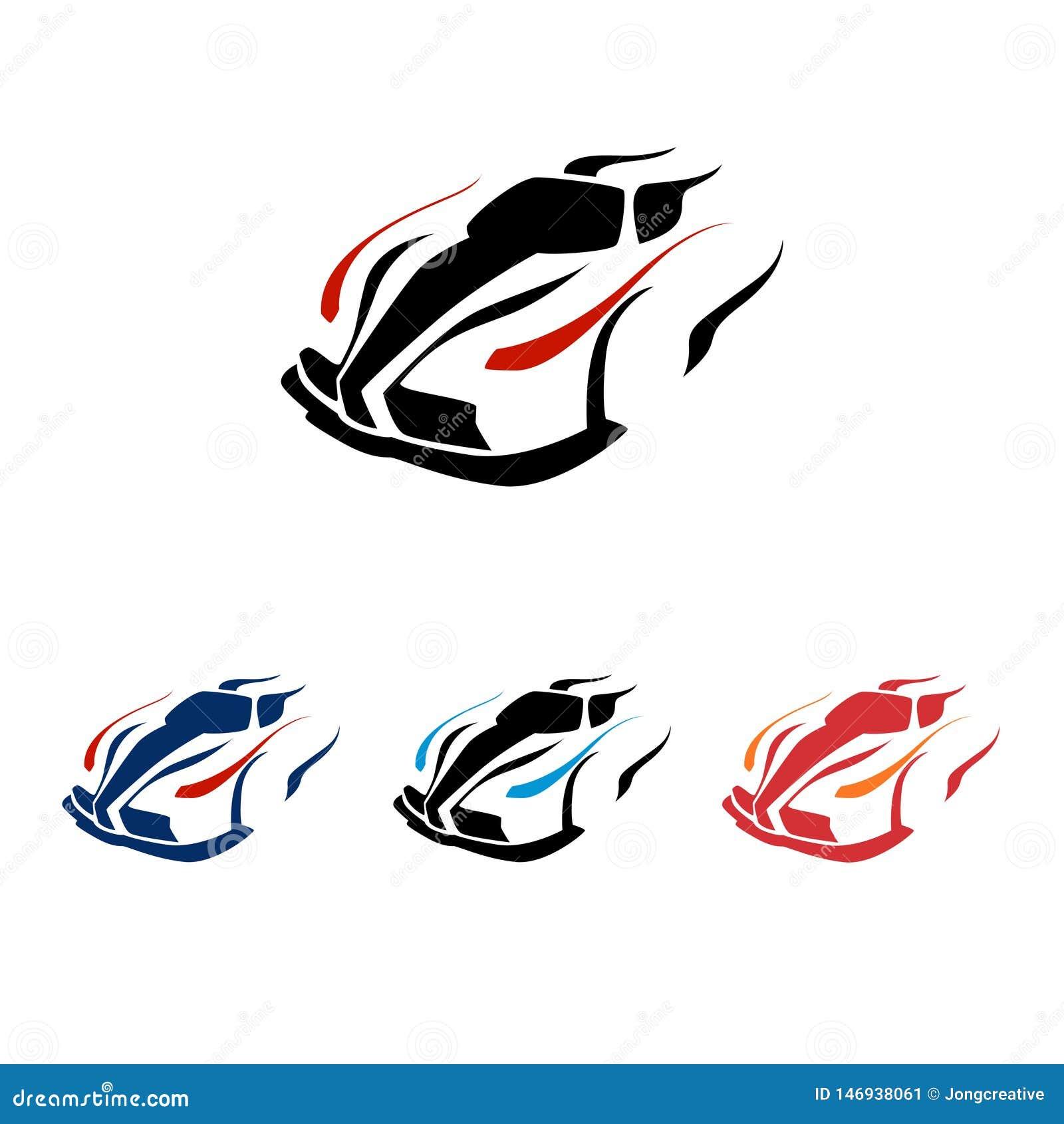 Modern toppen snabb biltävlingvektor Logo Symbol