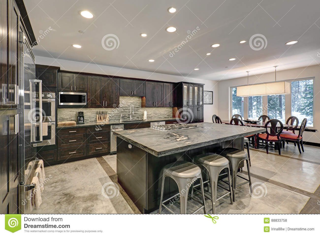 Modern Traditional American Kitchen Design In Grey Tones Stock