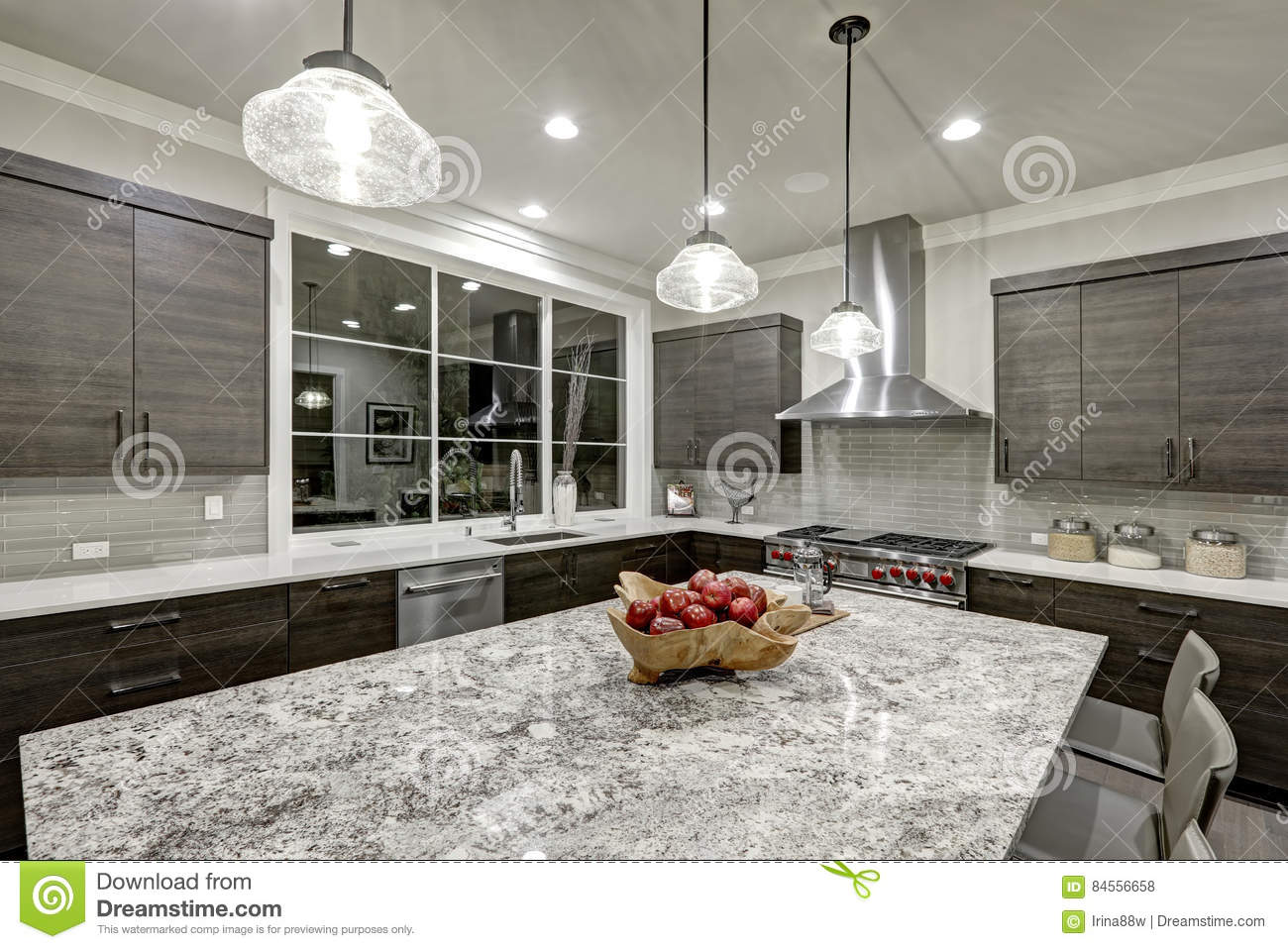 Modern Traditional Kitchen Design In New Luxury Home Features Dark Gray  Cabinets, White Quartz And Granite Countertops, Glossy Gray Linear Tile  Backsplash ...