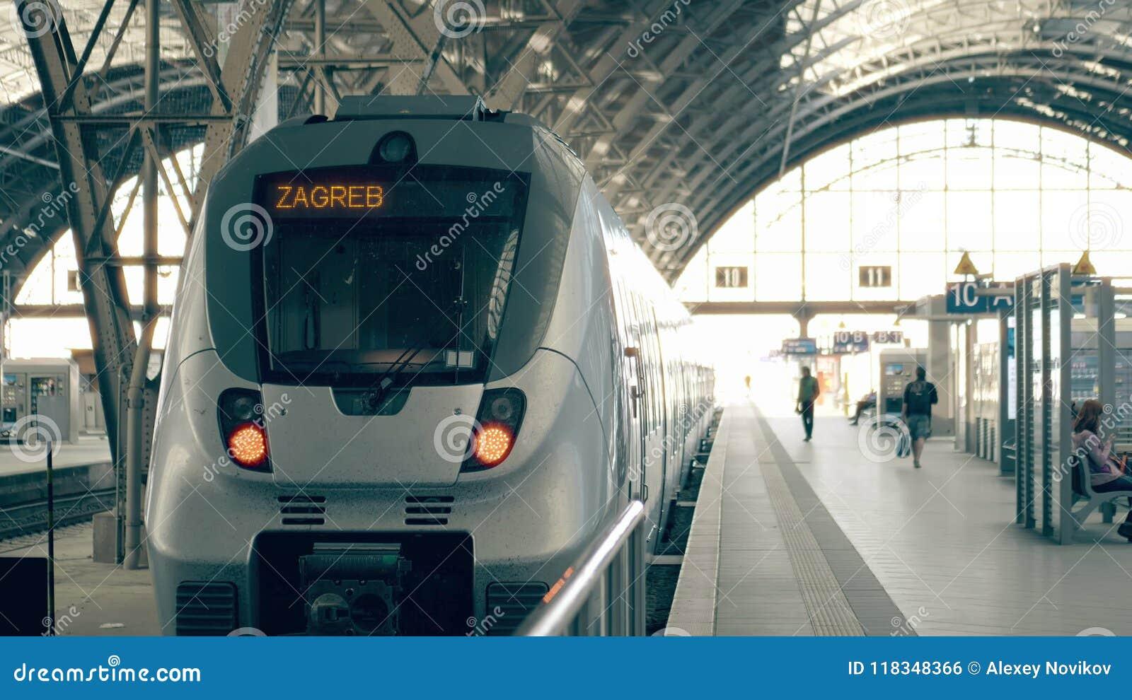 Modern Train To Zagreb Travelling To Croatia Conceptual