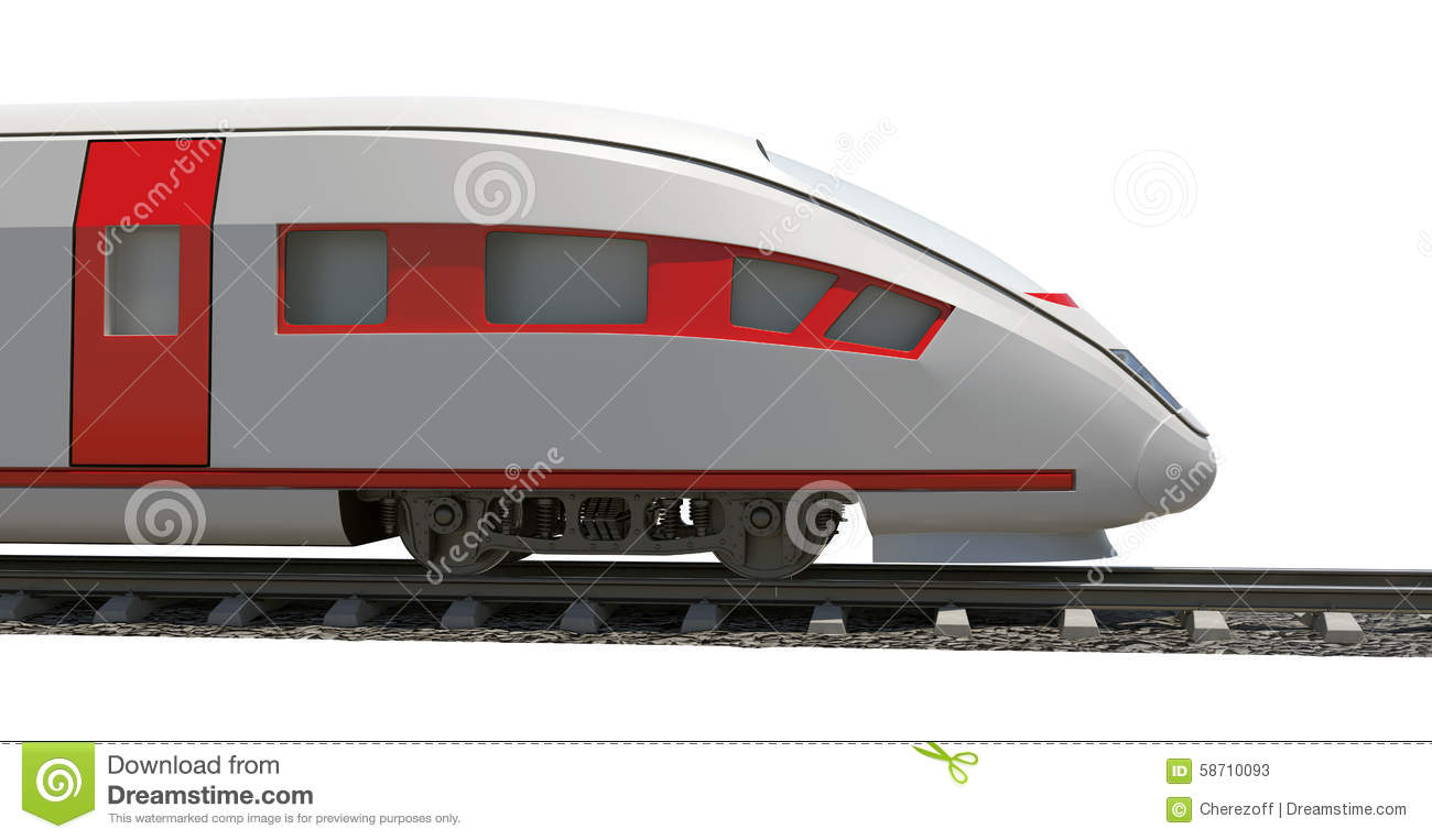 Modern train on white stock image. Image of ticket, travel ...