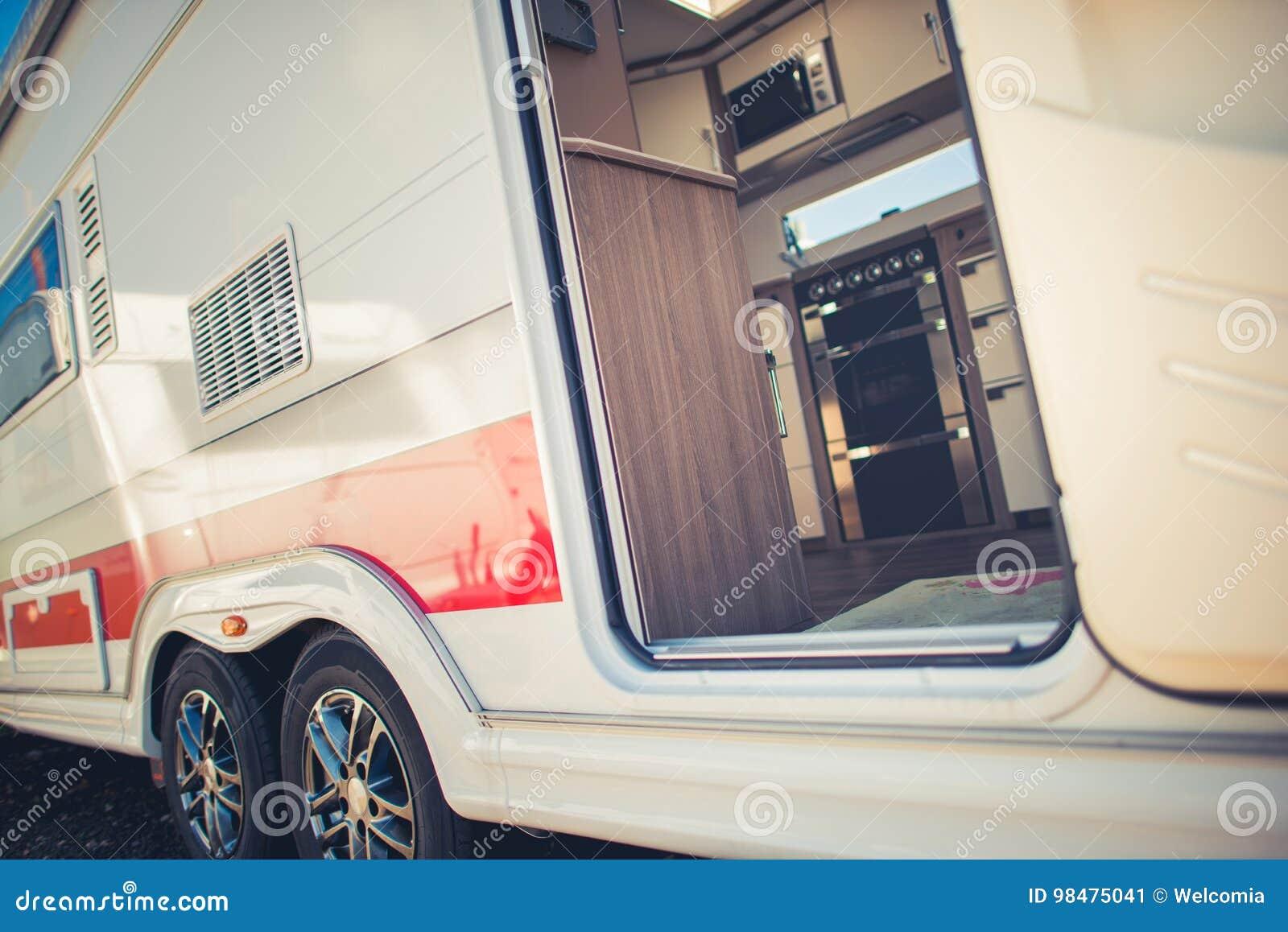 modern travel trailer camping stock image - image of trailer, door
