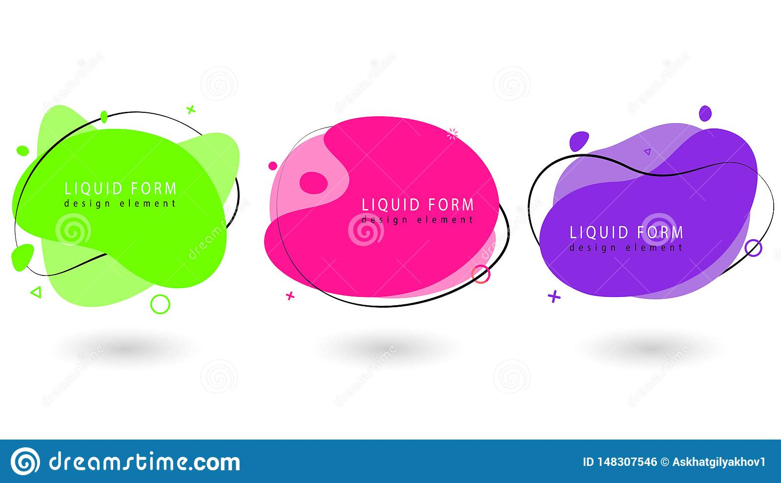 fabfb349ce86e Modern trendy abstract banner set. Flat geometric fluid elements with  Proton Purple, UFO green and Plastic Pink colors. Liquid elements for  flyer, ...