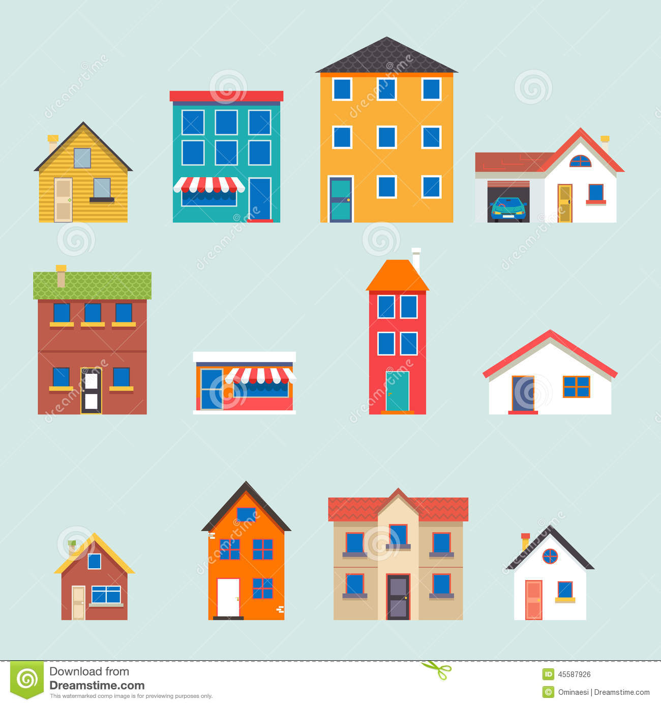 Modern Trendy Retro House Street Flat Icons Set Stock Vector Illustration of garage flat