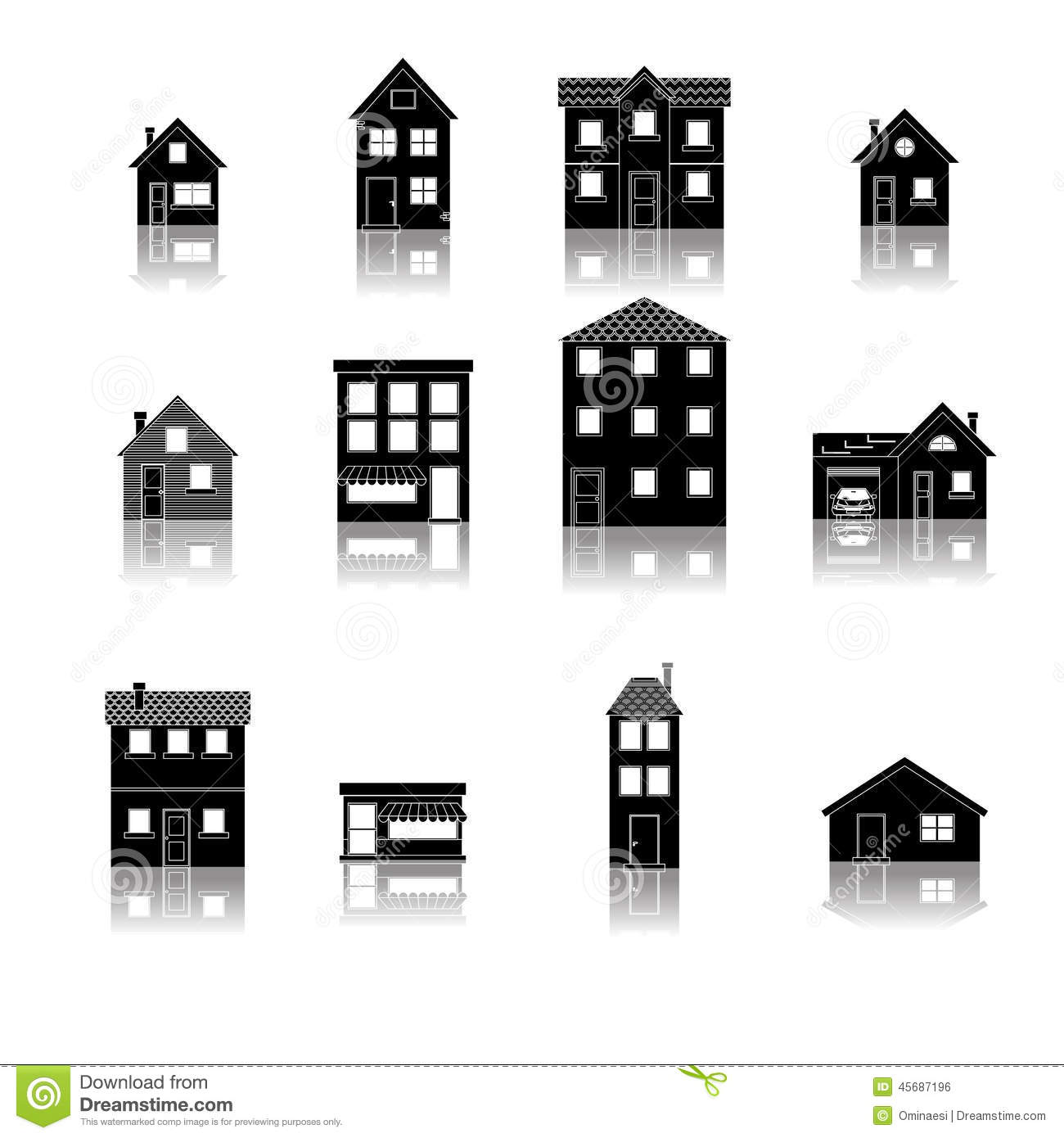 Modern trendy retro house street flat icons set stock for House project online