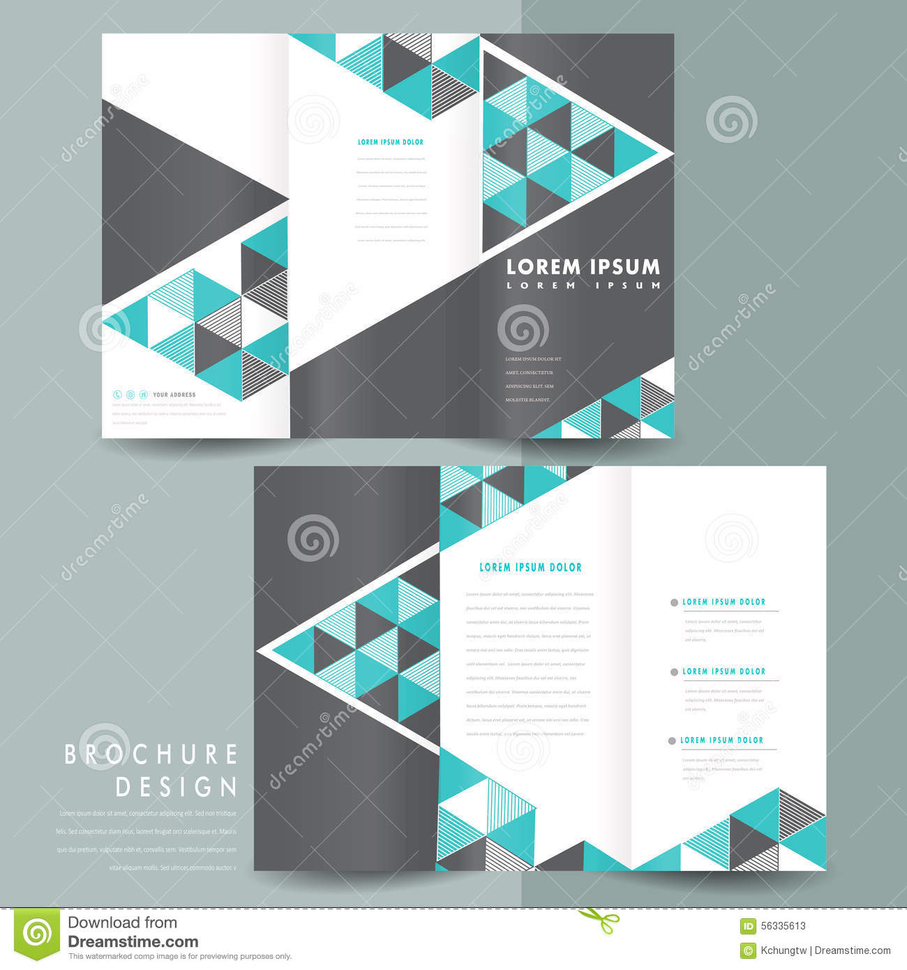 Modern Trifold Brochure Template Design Stock Vector Illustration - Brochure templates download
