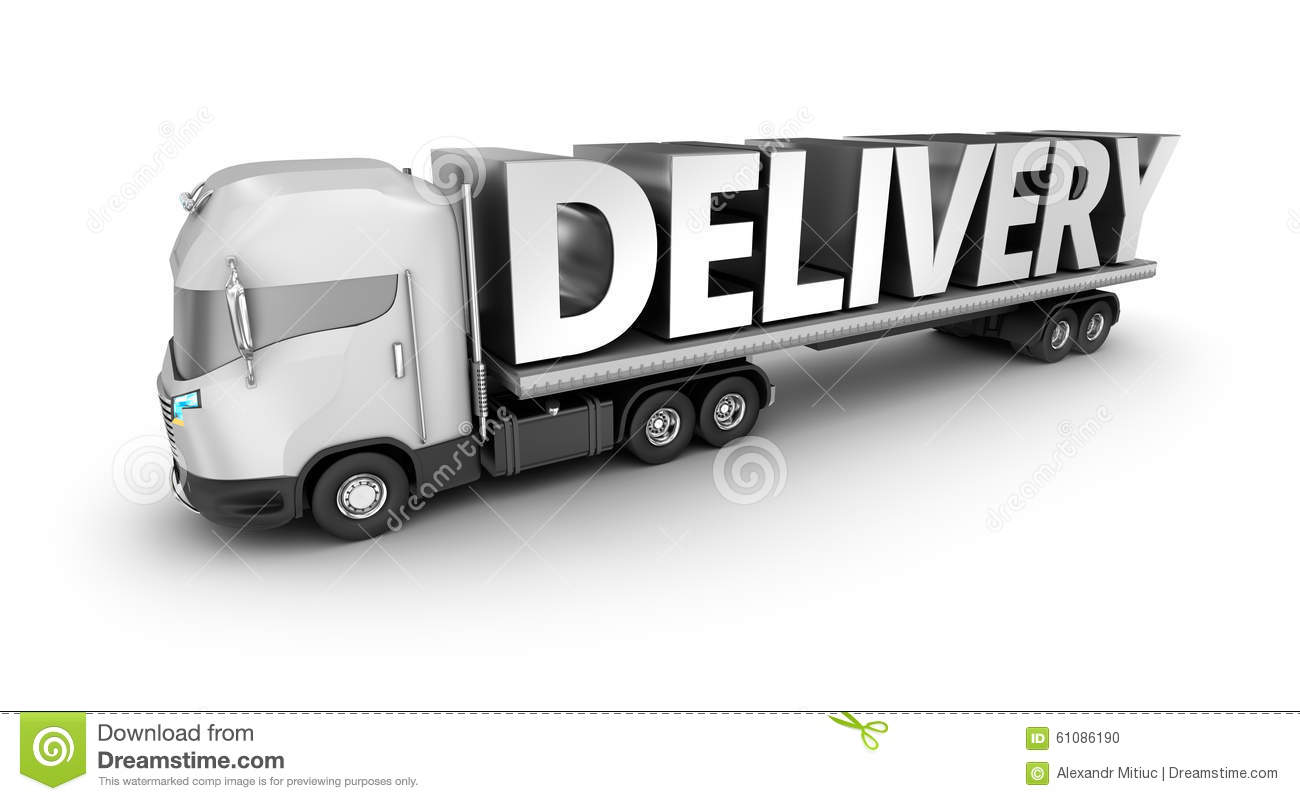 Semi Truck Seats >> Modern Truck With Delivery Word, Stock Illustration - Image: 61086190