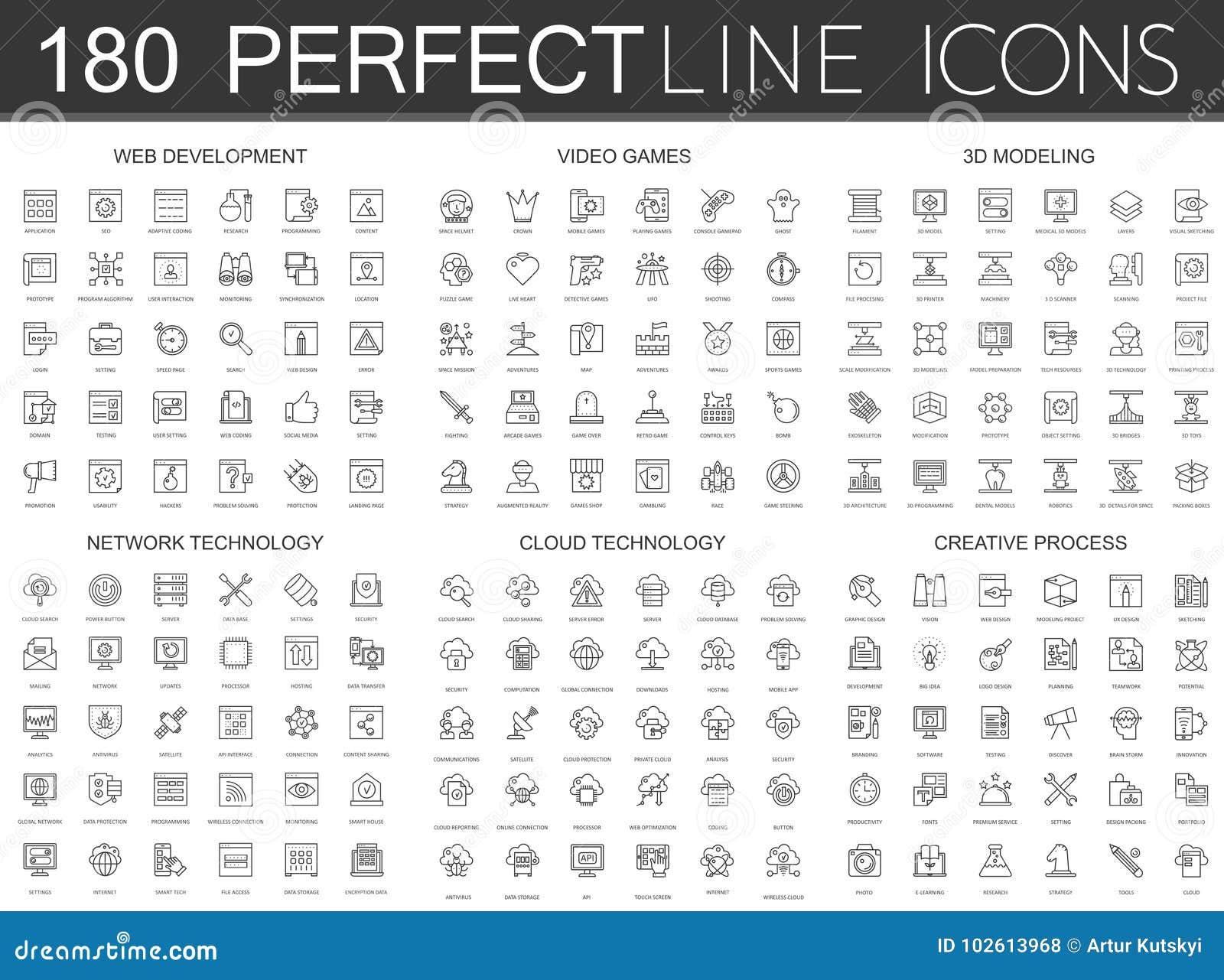 180 modern tunn linje symbolsuppsättning av rengöringsdukutveckling, videospel, 3d som modellerar, nätverksteknologi, molndatatek