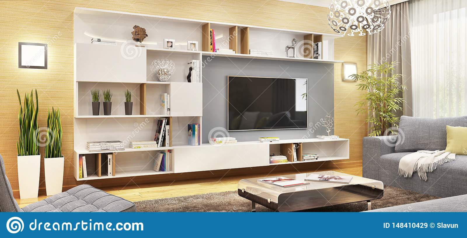 Modern Tv Cabinet In The Modern Living Room Stock Image - Image of