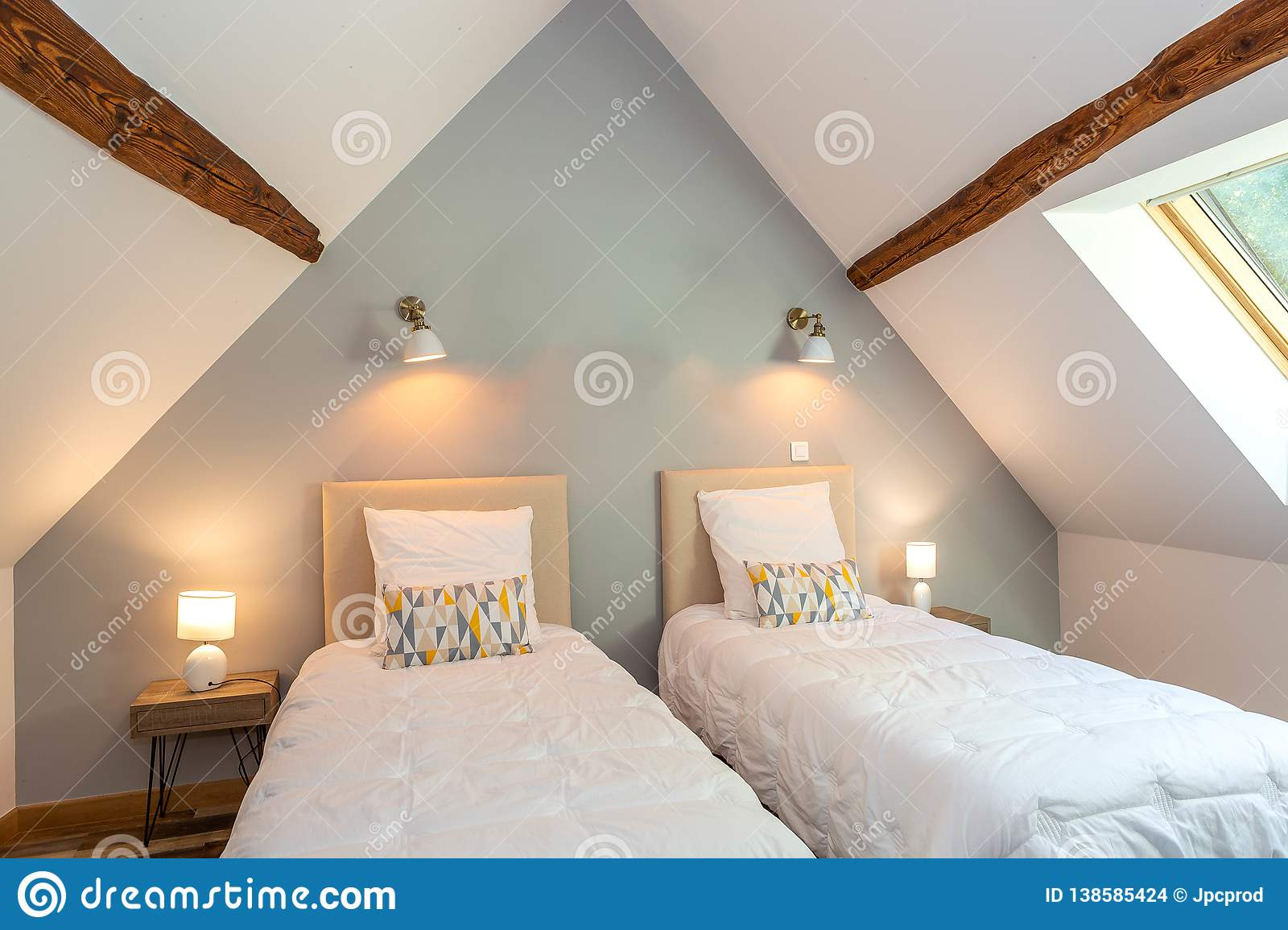 Modern Two Beds Beddroom Suite In Bed And Breakfast Guest House Under Roof Stock Photo Image Of Furniture Beautiful 138585424