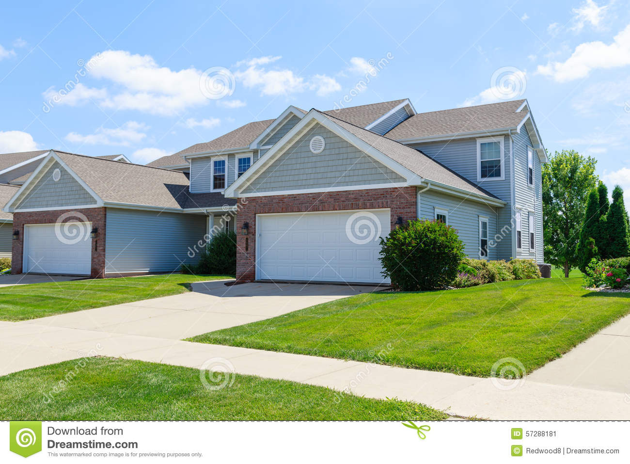 Modern Two Family Townhomes Stock Photo Image 57288181
