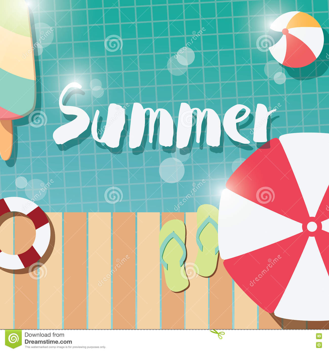 Elements of a poster design - Modern Typographic Summer Poster Design With Ice Cream Swimming Pool And Geometric Elements Royalty Free