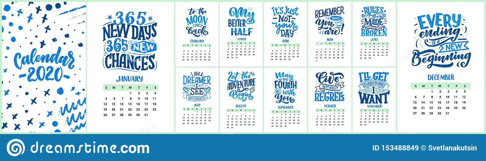 modern typography lettering compositions calendar funny