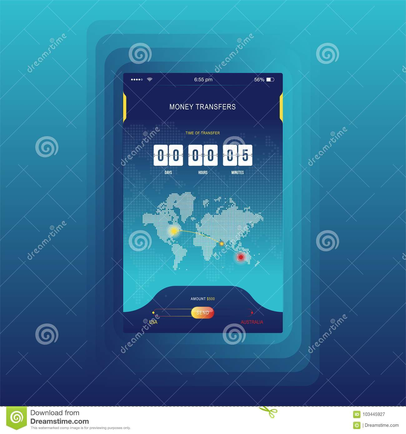 Modern ui mobile app for online transfer money with timer countdown mobile app for online transfer money with timer countdown ux application and flat web icons with world map flat vecto communication media gumiabroncs Choice Image