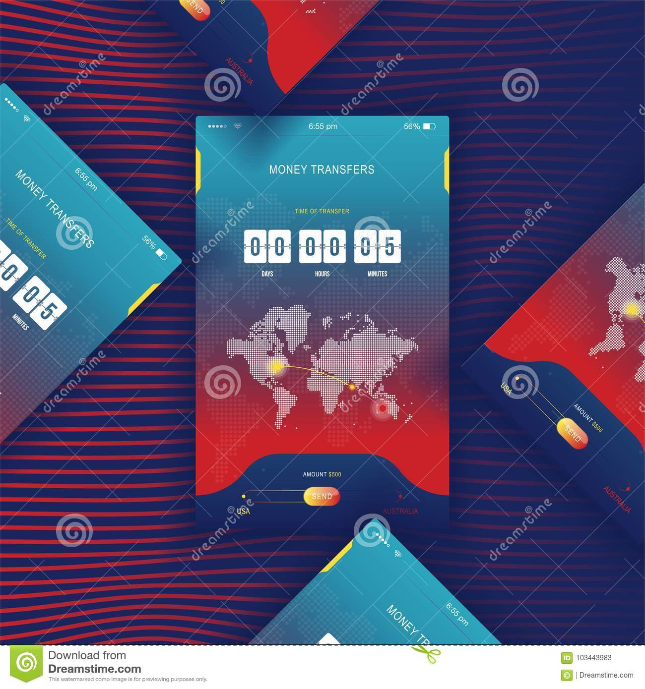 Modern ui mobile app for online transfer money with timer countdown mobile app for online transfer money with timer countdown ux application and flat web icons with world map flat vecto gumiabroncs Choice Image