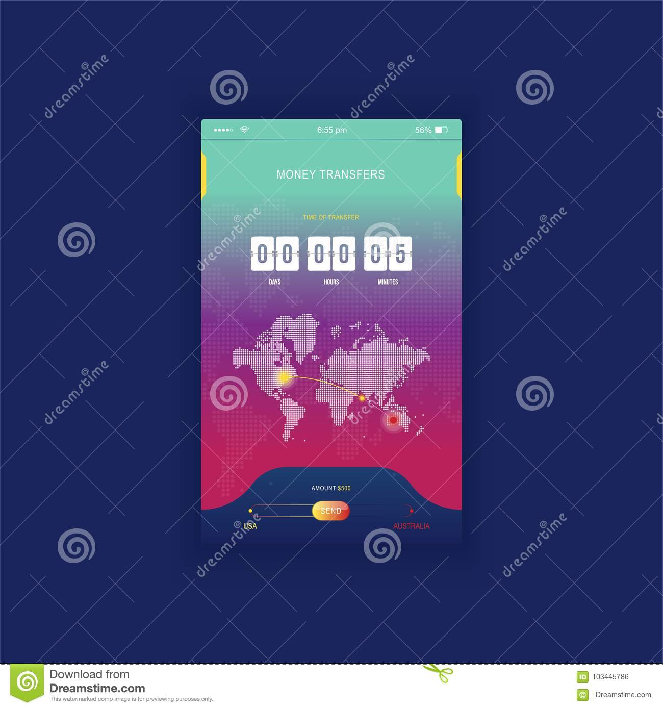 Modern ui mobile app for online transfer money with timer mobile app for online transfer money with timer countdown ux application and flat web icons with world map flat vecto commercial media gumiabroncs Gallery