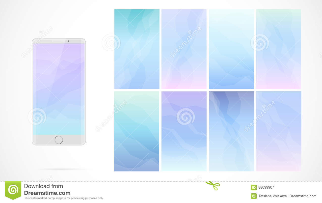 Modern UI GUI Screen Vector Design For Mobile App Blurred Soft Color Gradient Vertical Wallpaper Background Set Sweet Romantic Collection