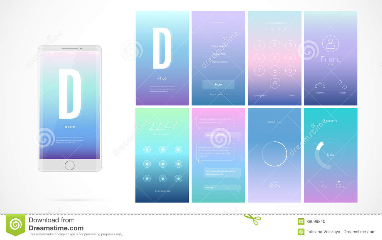 Modern ui screen design for mobile app with web icons for Blueprint app free