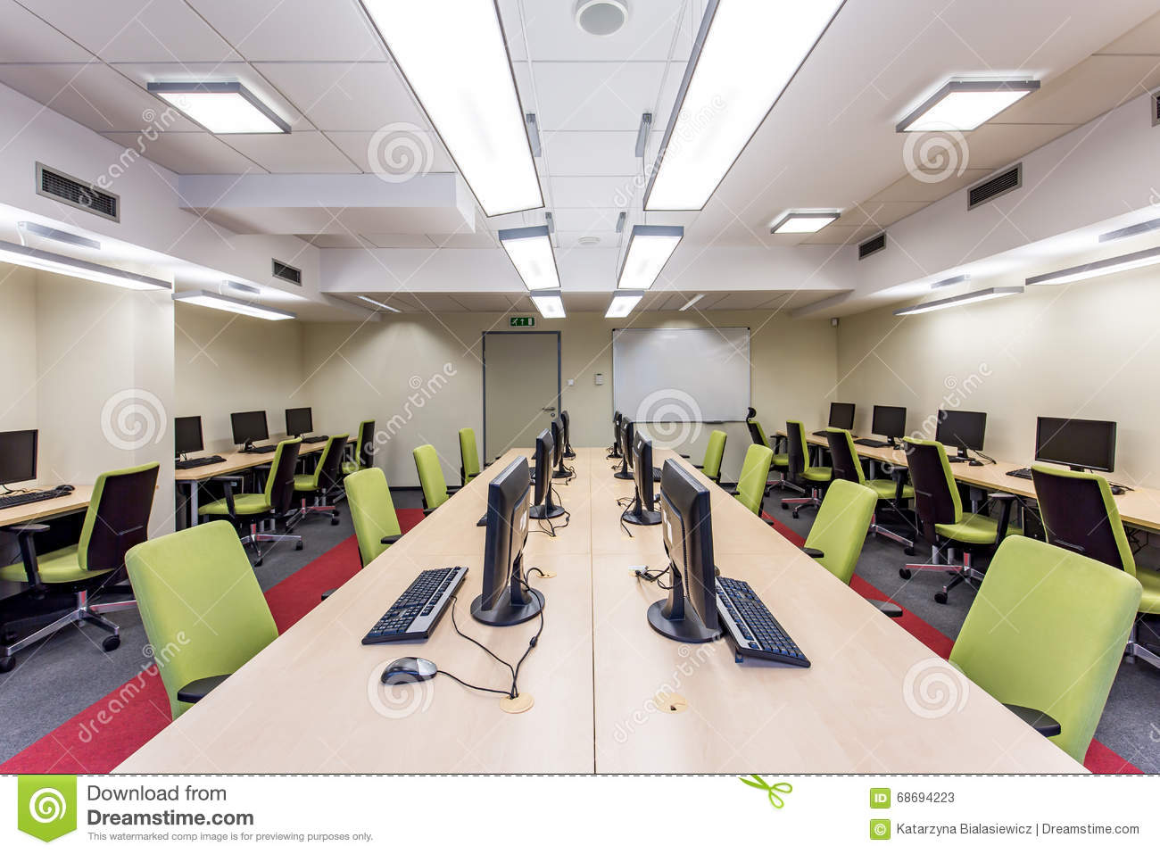 Modern University Classroom Design : Modern university classroom with computers stock photo
