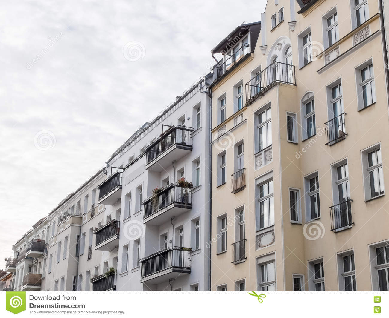 Modern urban apartment building facades stock photo Modern residential towers