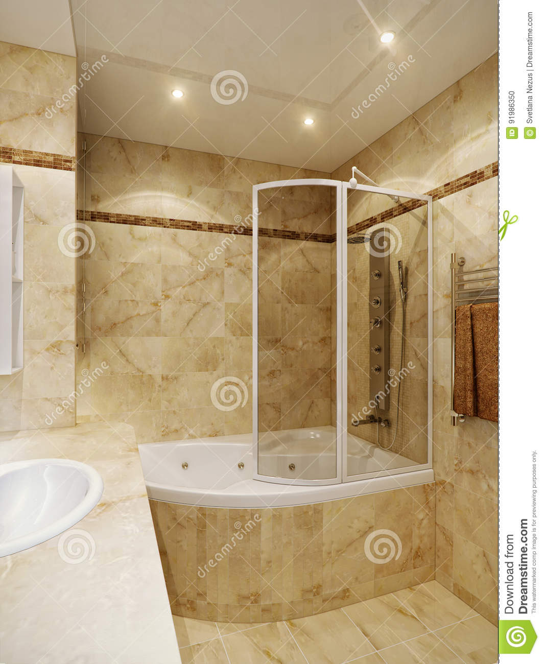Modern Urban Contemporary Bathroom Stock Illustration Illustration Of Elegant Cream 91986350