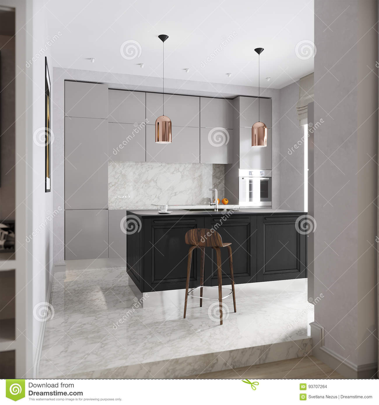 Modern Urban Contemporary Gray Kitchen Interior Stock Illustration