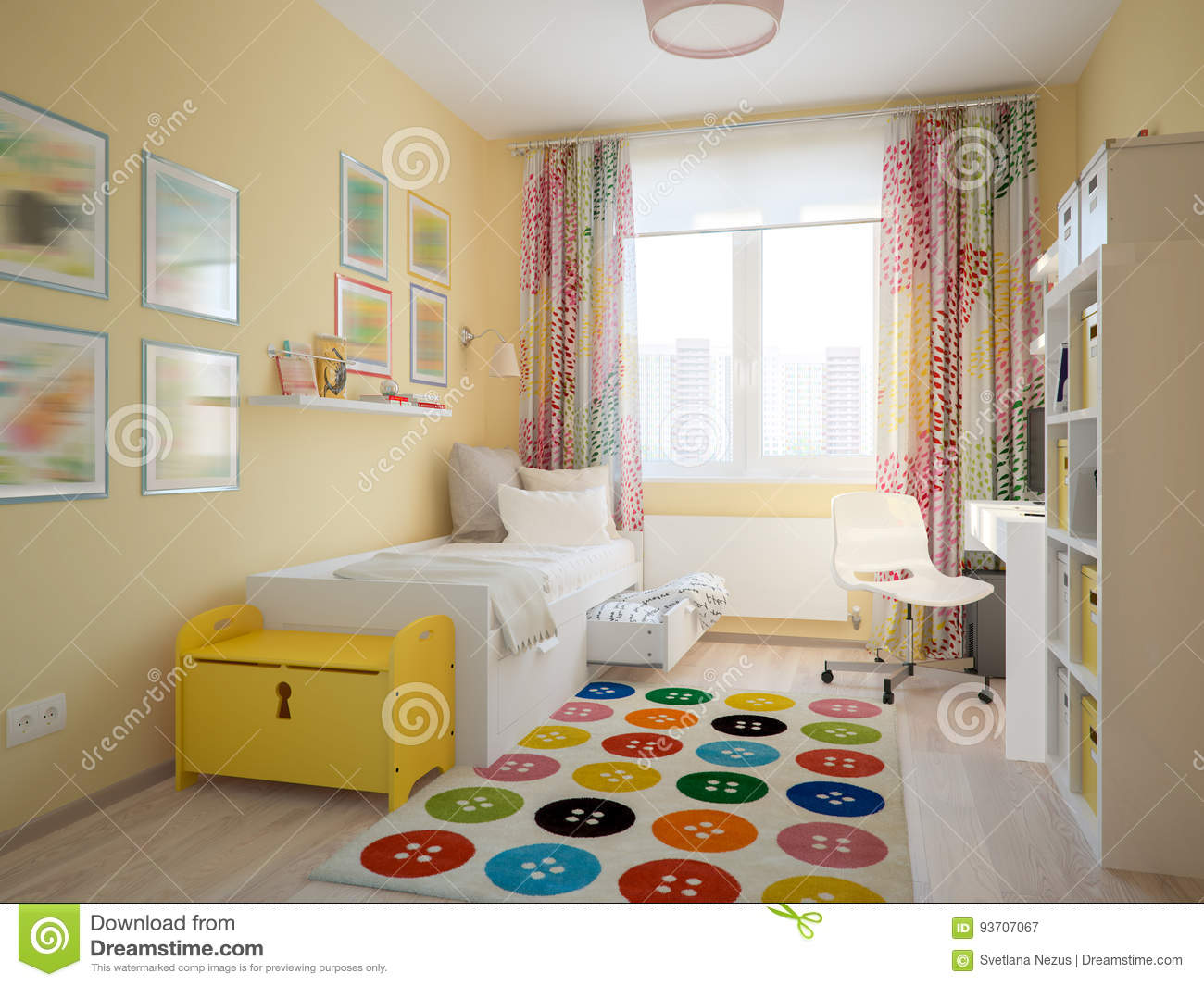 Modern Urban Contemporary Scandinavian Children Room Stock