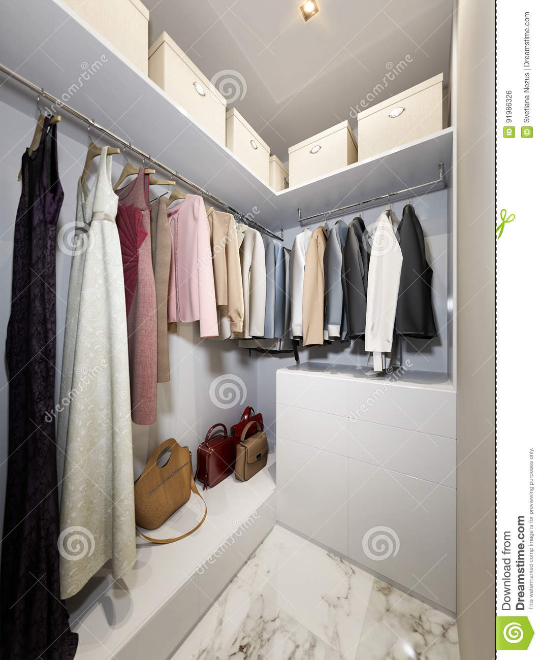 Modern Urban Contemporary Walk In Closet Wardrobe