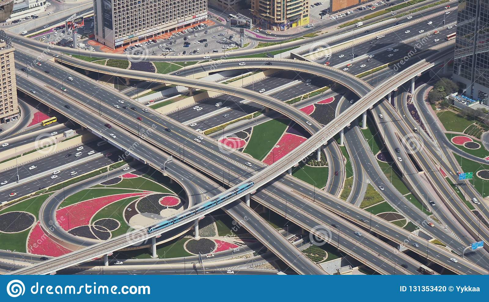 Modern Urban Multi Level Road Junctions In Downtown Dubai View From The Top Stock Footage Video Editorial Image Image Of Khalifa Cityscape 131353420
