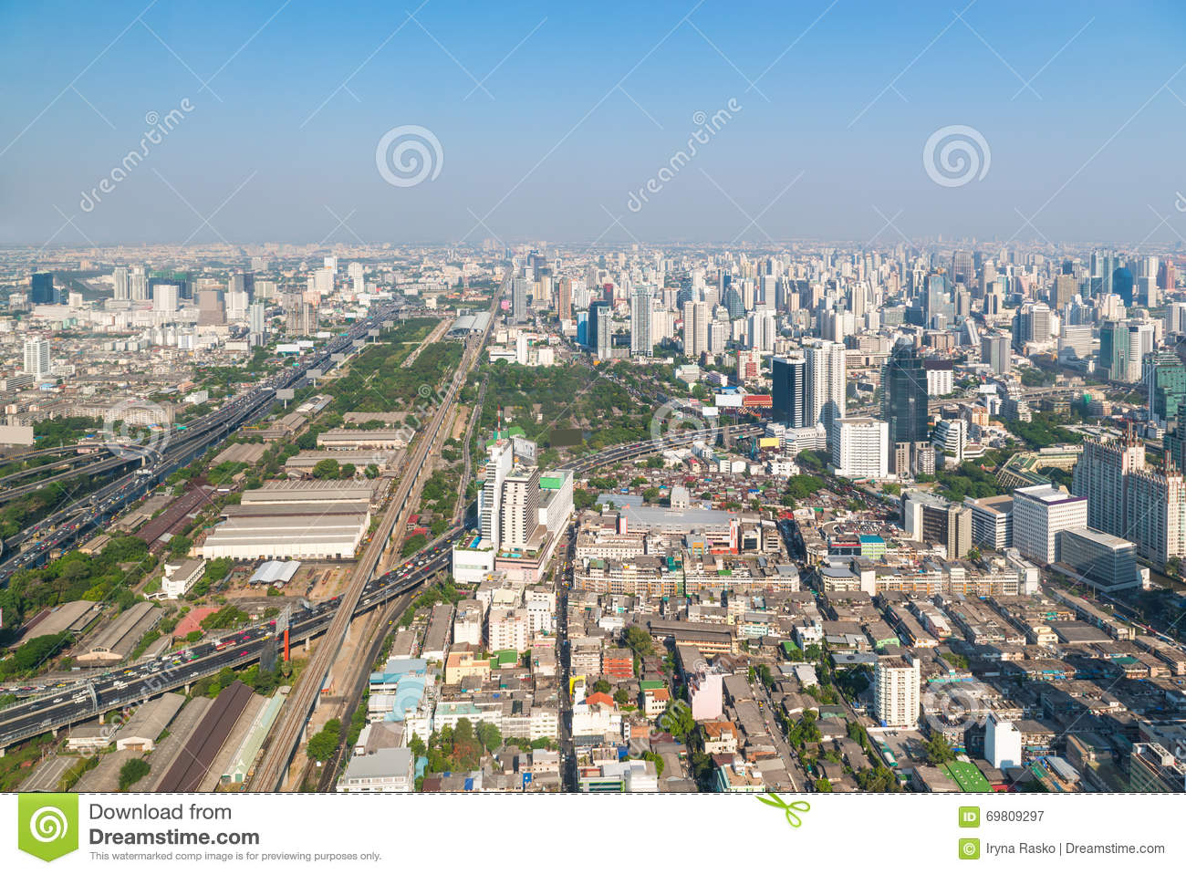Modern Urban Skyline Of Bangkok In The Morning Stock Photo Image 69809297