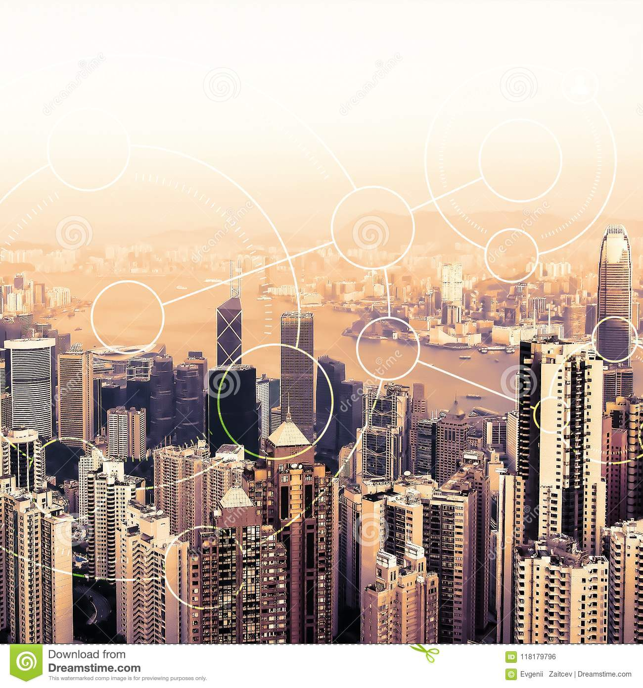 Modern urban skyline. Global communications and networking. Blockchain concept. High-speed data and internet connection