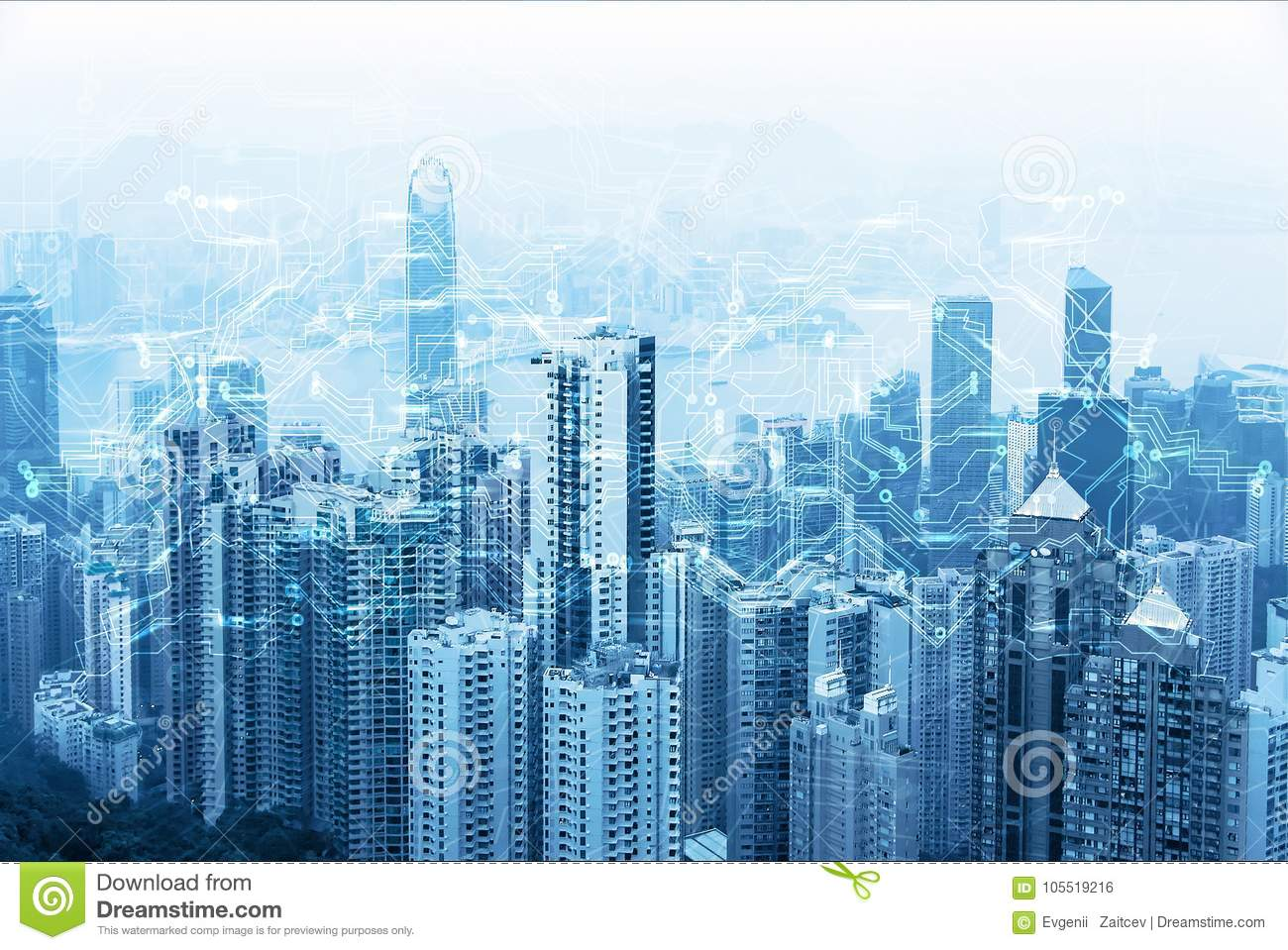 Modern urban skyline. Global communications and networking. Cyberspace in big city. High-speed data and internet connection