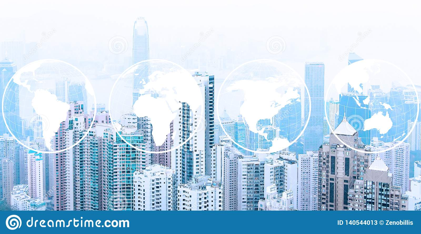 Modern urban skyline. Global communications and networking. World maps