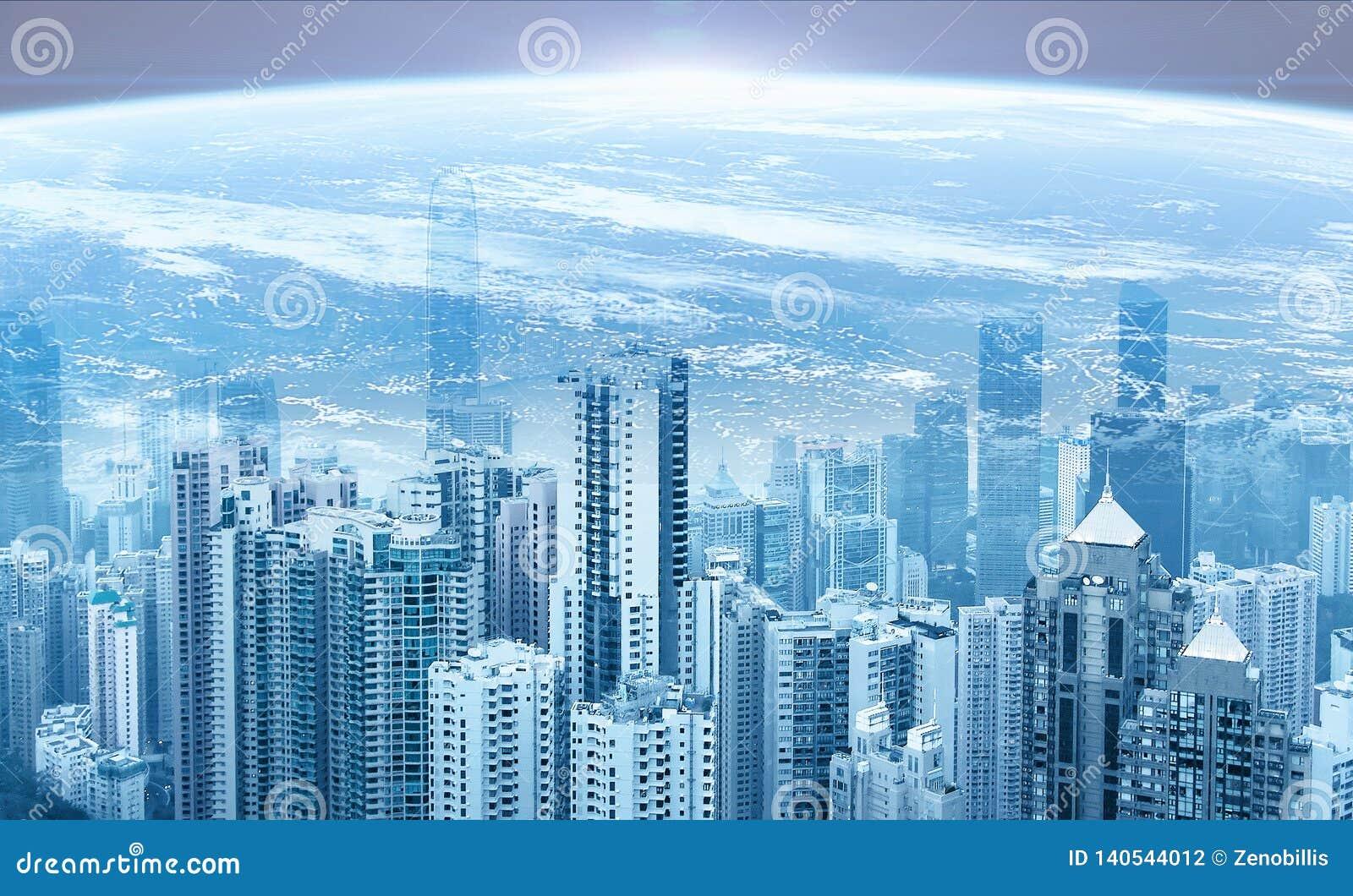 Modern urban skyline. Planet Earth. Sunrise. Global communications and networking