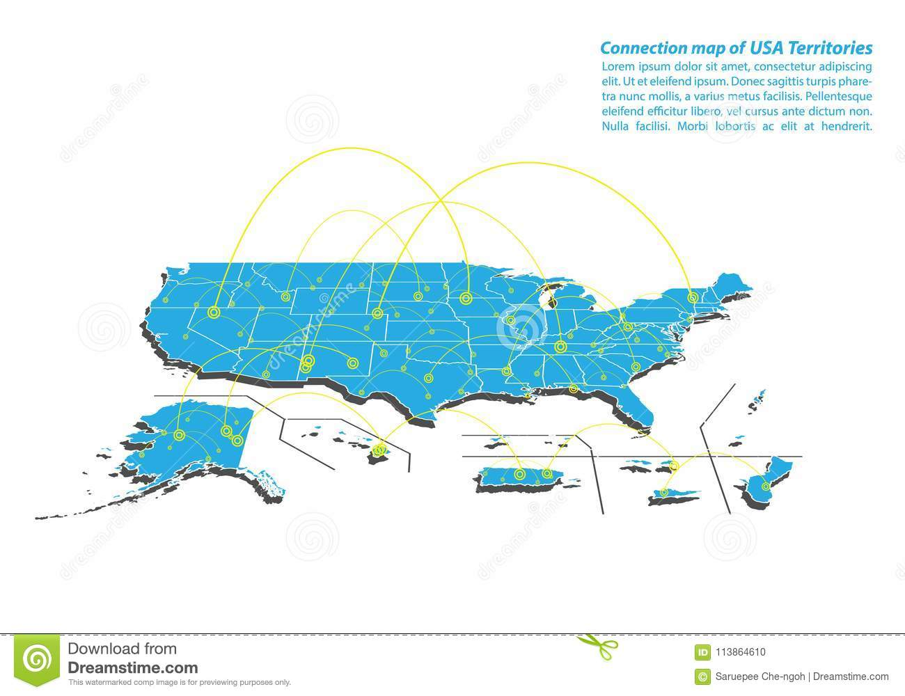Modern Of USA Territories Map Connections Network Design, Best ...