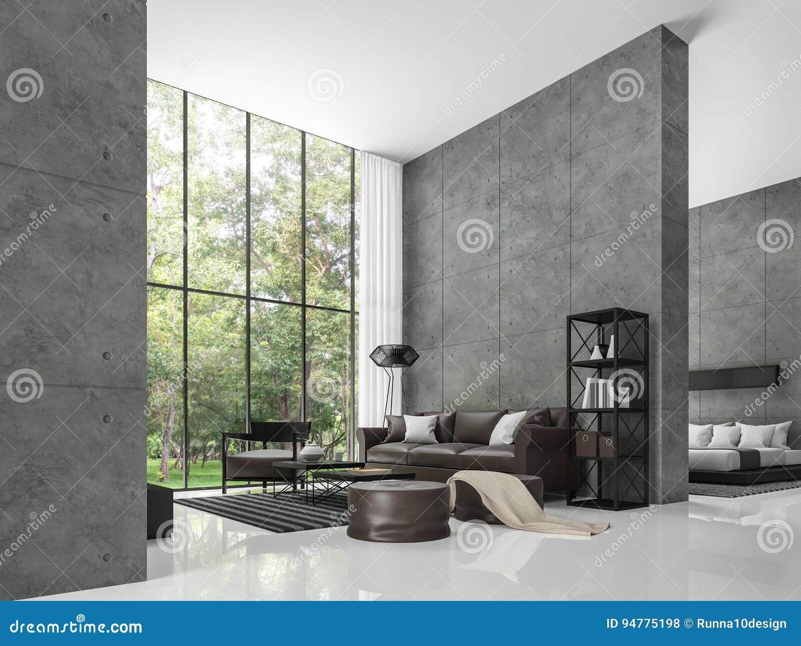 Modern van de zolderwoonkamer en slaapkamer 3d teruggevend beeld