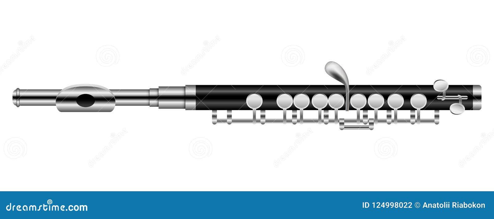 Modern van muzikaal fluitmodel, realistische stijl