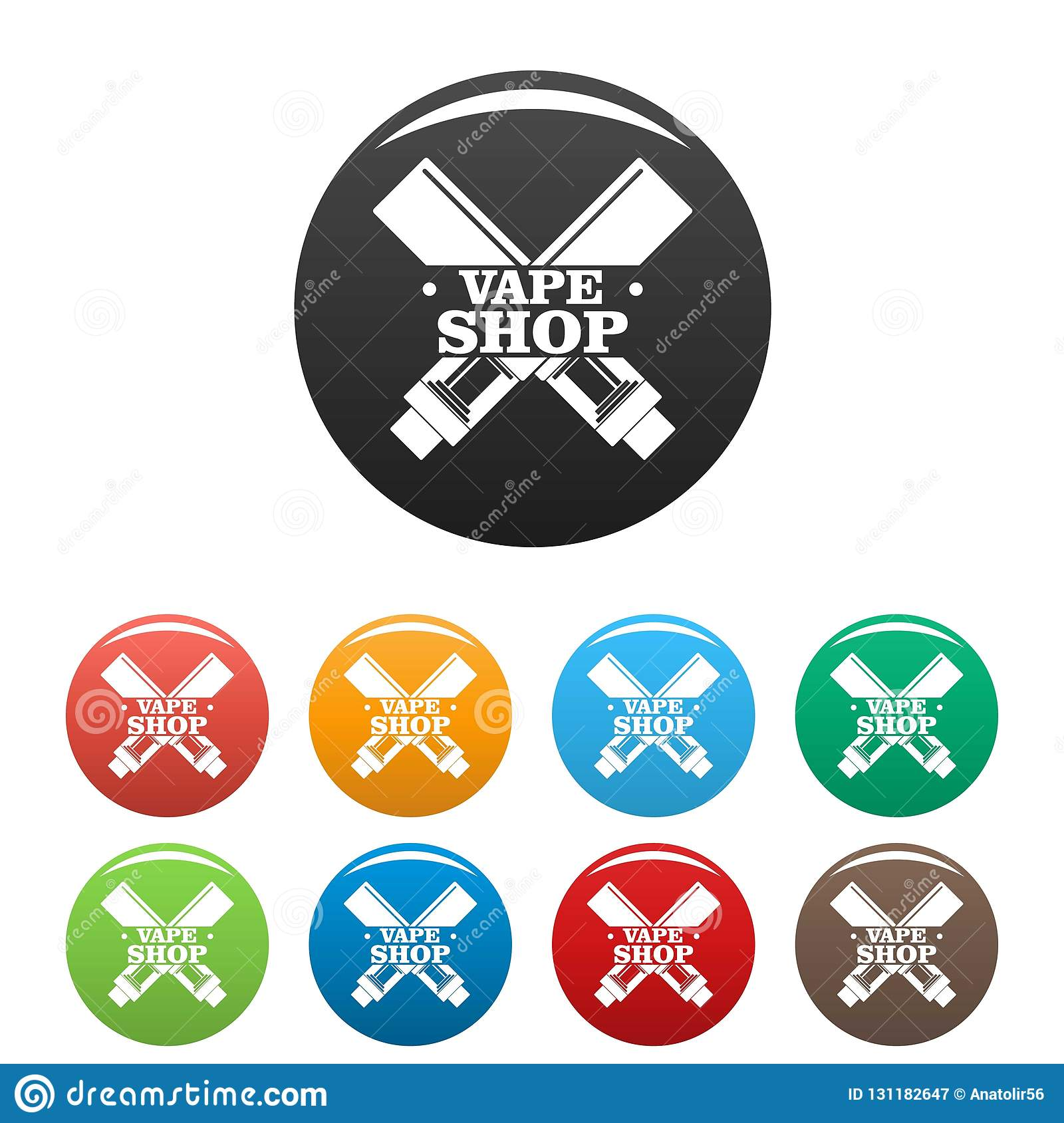 Modern Vape Shop Icons Set Color Stock Vector - Illustration