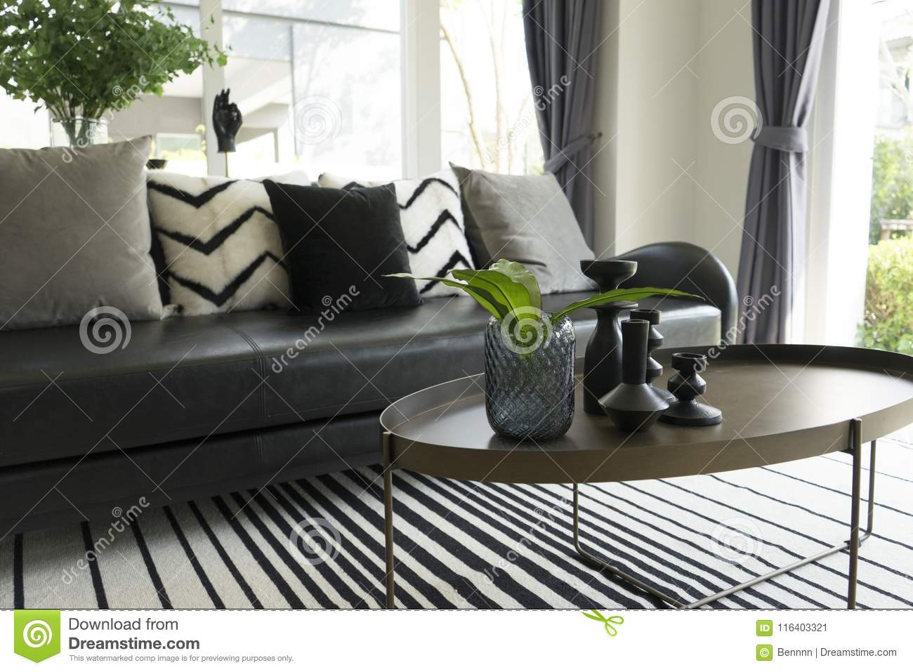 Picture of: Modern Vase And Green Leaf On Center Table With Black And White Pillows On Sofa Stock Image Image Of Design Interior 116403321
