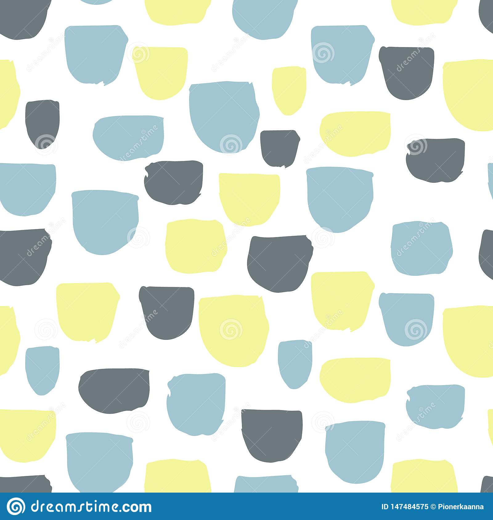 Modern vector abstract seamless geometric pattern with semicircles in scandinavian style.