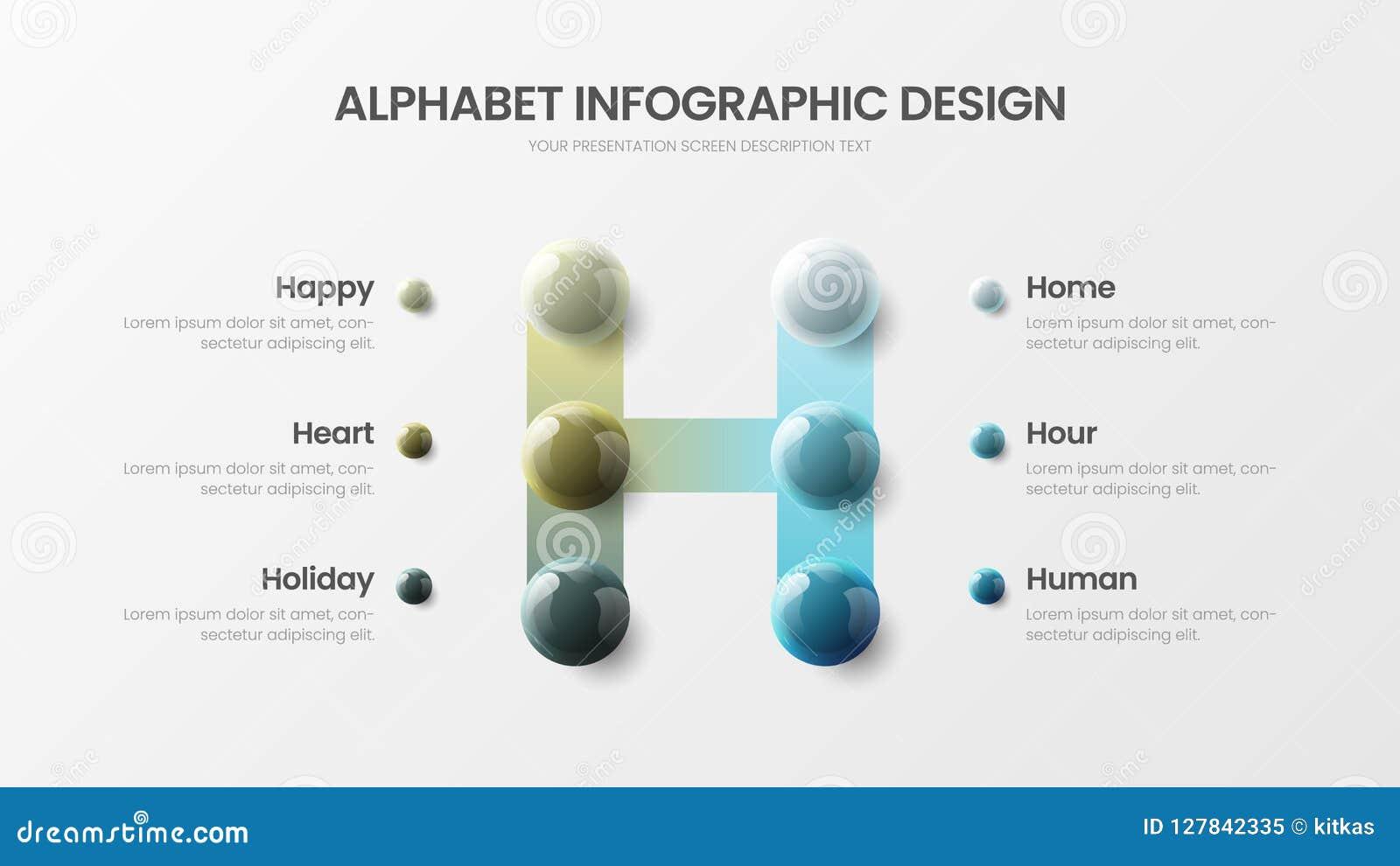 Modern vector de presentatiemalplaatje van 6 het symbool infographic 3D realistisch kleurrijk ballen van het optiealfabet H
