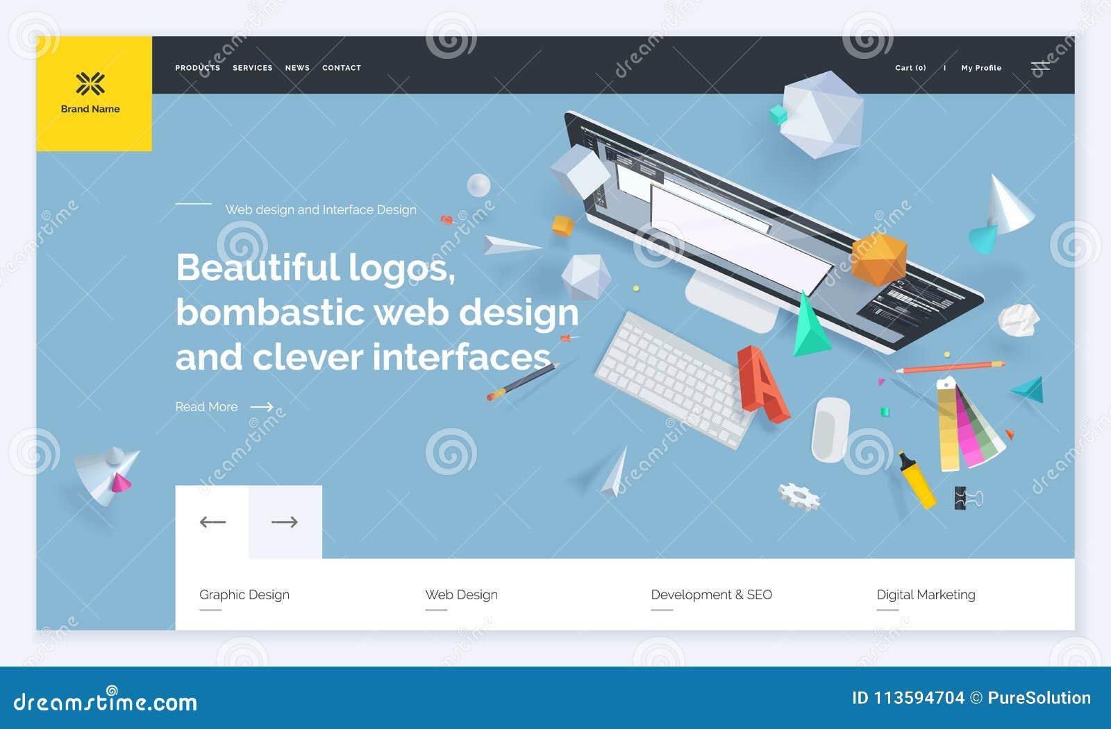Website Template Design Stock Vector Illustration Of