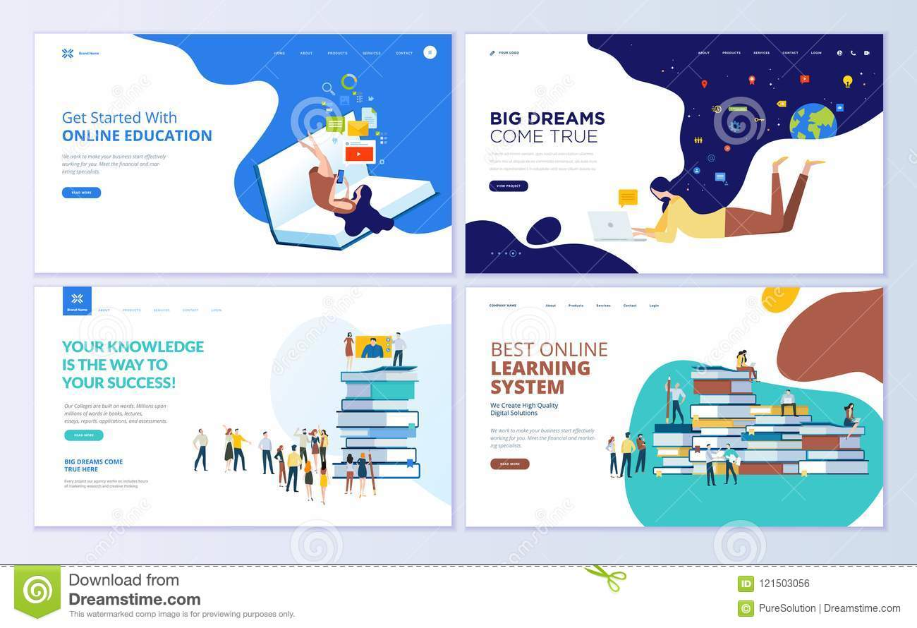 Set Of Web Page Design Templates For Online Education