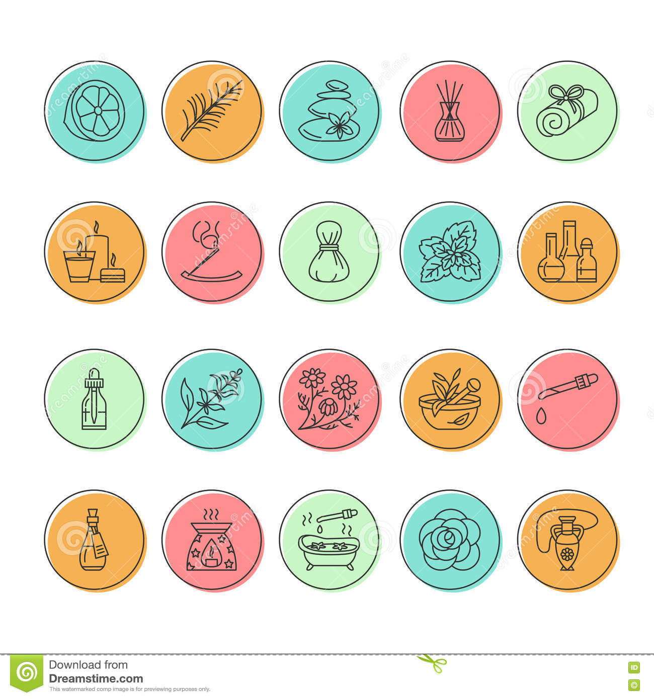 Modern Vector Line Icons Of Aromatherapy And Essential