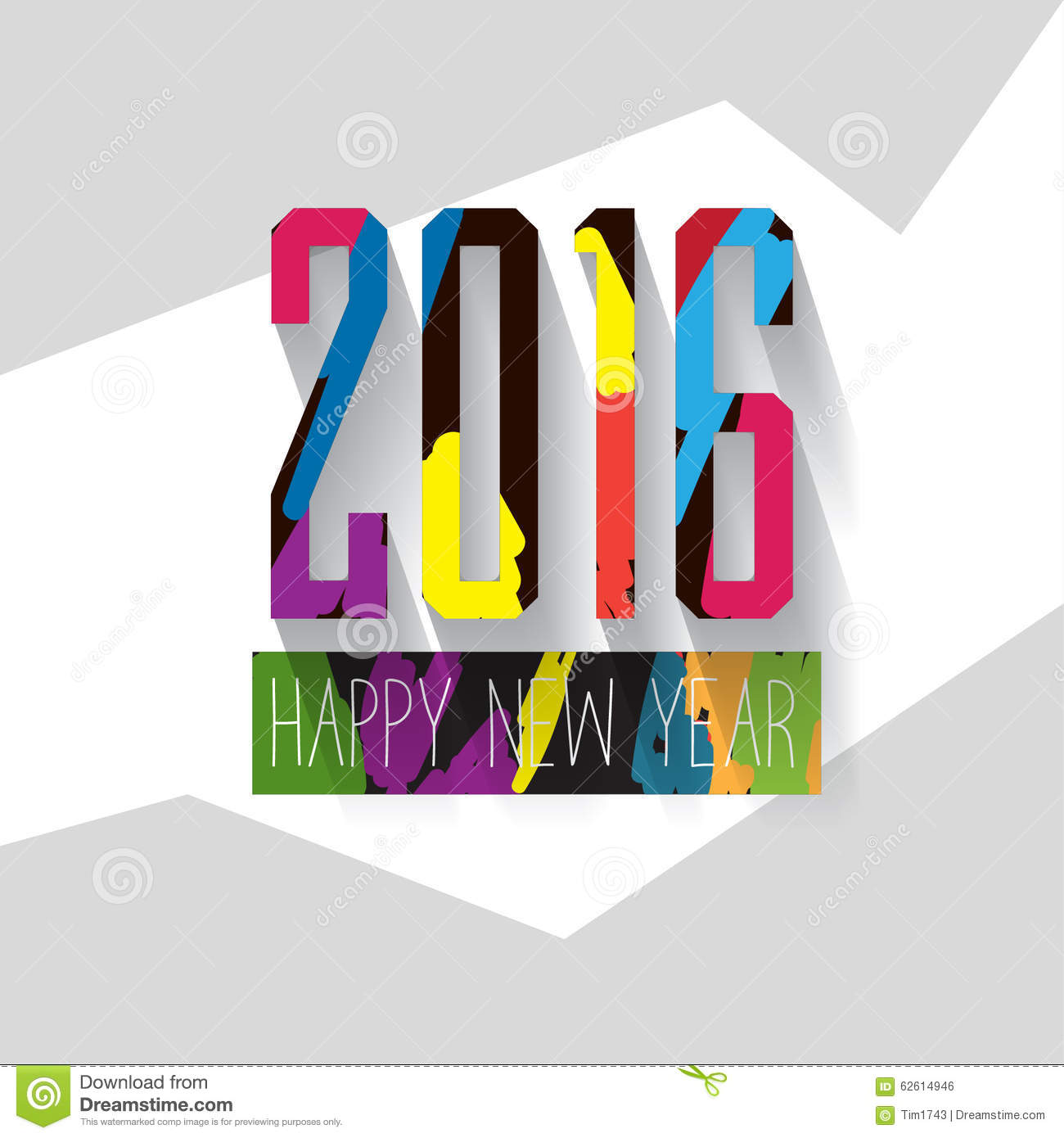 Modern Vector Pop Up Style Colorful Letters New Year Greeting Card