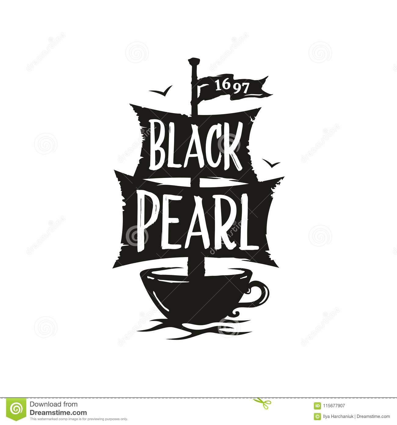 Modern vector professional sign logo cafe black pearl