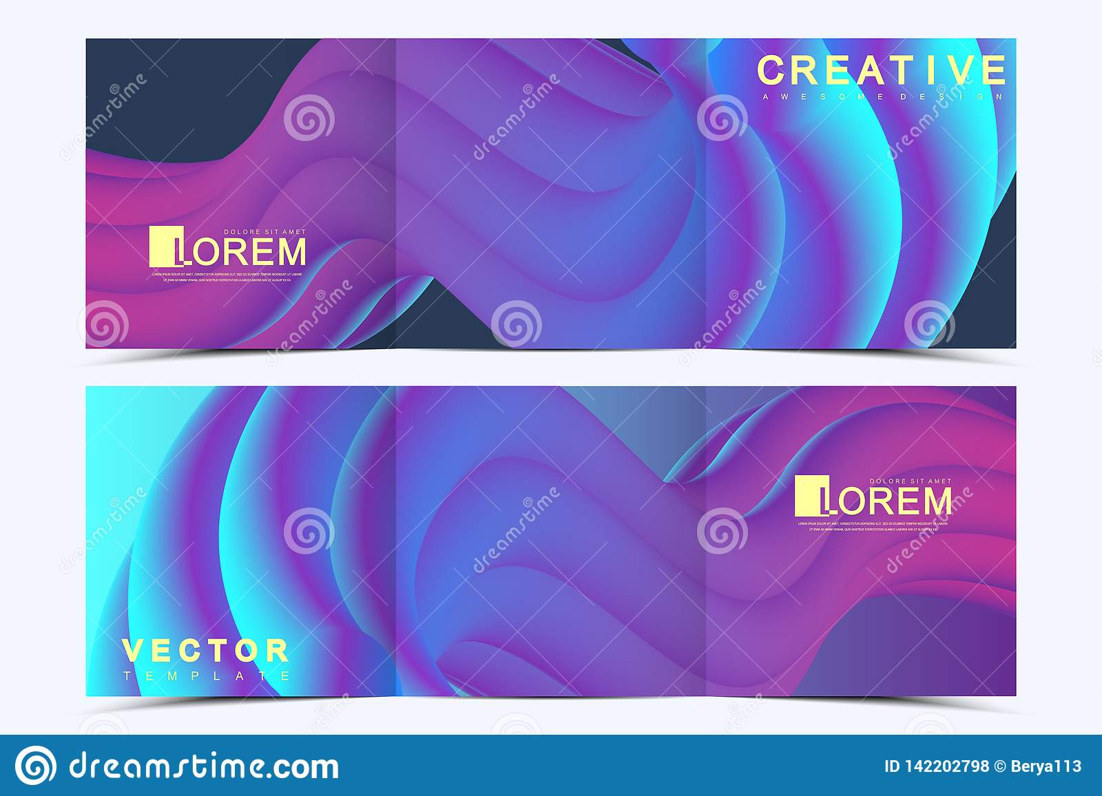 Modern vector template for trifold square brochure, flyer, cover, report, catalog, magazine. Abstract fluid 3d shapes